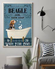 beagle bath soap blue 11x17 Poster lifestyle-poster-1