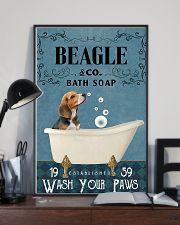 beagle bath soap blue 11x17 Poster lifestyle-poster-2