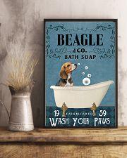 beagle bath soap blue 11x17 Poster lifestyle-poster-3