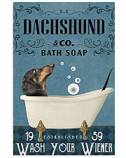 dachshund and bath soap poster 11x17 Poster front