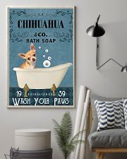 chihuahua bath soap blue 11x17 Poster lifestyle-poster-1