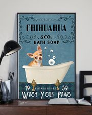 chihuahua bath soap blue 11x17 Poster lifestyle-poster-2