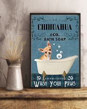 chihuahua bath soap blue 11x17 Poster lifestyle-poster-3