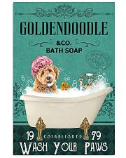 goldendoodle and bath soap 11x17 Poster front