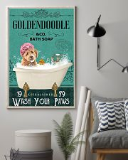 goldendoodle and bath soap 11x17 Poster lifestyle-poster-1