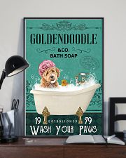 goldendoodle and bath soap 11x17 Poster lifestyle-poster-2