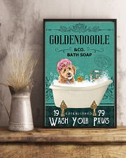 goldendoodle and bath soap 11x17 Poster lifestyle-poster-3
