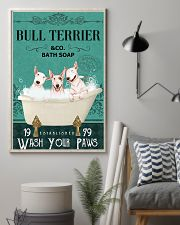 bull terrier bath soap 11x17 Poster lifestyle-poster-1