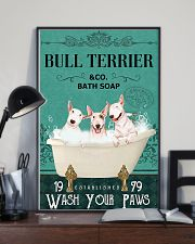bull terrier bath soap 11x17 Poster lifestyle-poster-2