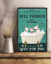 bull terrier bath soap 11x17 Poster lifestyle-poster-3
