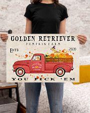 golden retriever pumpkin farm 24x16 Poster poster-landscape-24x16-lifestyle-20