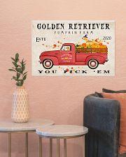 golden retriever pumpkin farm 24x16 Poster poster-landscape-24x16-lifestyle-22