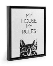 My house my rules Floating Framed Canvas Prints Black tile