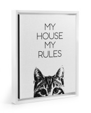 My house my rules Floating Framed Canvas Prints White tile