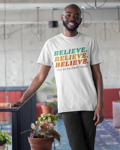 Believe White Half Sleeves Shirt
