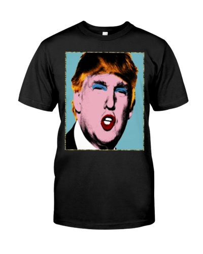 trump with makeup on his t shirt