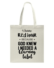 Red Hair- Warning Label Tote Bag thumbnail