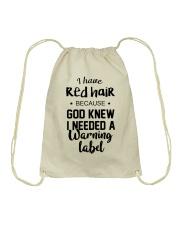 Red Hair- Warning Label Drawstring Bag thumbnail