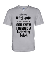 Red Hair- Warning Label V-Neck T-Shirt thumbnail