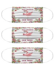 Flamingo will remove for wine mask Cloth Face Mask - 3 Pack front