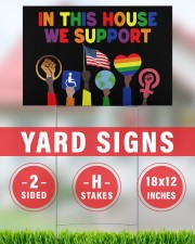 LGBT In this house we support yard sign 18x12 Yard Sign aos-yard-sign-18x12-lifestyle-front-30