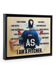 Baseball Iam pitcher custom name and number poster 14x11 Black Floating Framed Canvas Prints thumbnail