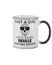 Just a girl who loves skulls and has tattoos mug Color Changing Mug thumbnail
