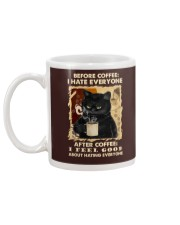 Black cat before coffee I hate everyone after Mug back
