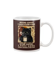 Black cat before coffee I hate everyone after Mug front