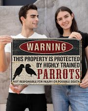 Parrots warning this property is protected poster 24x16 Poster poster-landscape-24x16-lifestyle-21