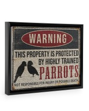 Parrots warning this property is protected poster 14x11 Black Floating Framed Canvas Prints thumbnail