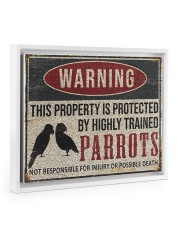 Parrots warning this property is protected poster 14x11 White Floating Framed Canvas Prints thumbnail