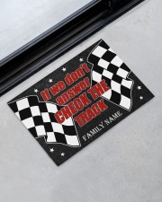"""Racing if we don't answer check the track doormat Doormat 22.5"""" x 15""""  aos-doormat-22-5x15-lifestyle-front-09"""