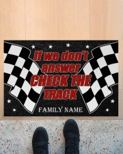 """Racing if we don't answer check the track doormat Doormat 22.5"""" x 15""""  aos-doormat-22-5x15-lifestyle-front-10"""