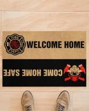 """Fire DEPT welcome home come home safe doormat Doormat 22.5"""" x 15""""  aos-doormat-22-5x15-lifestyle-front-02"""