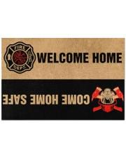 """Fire DEPT welcome home come home safe doormat Doormat 22.5"""" x 15""""  front"""