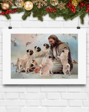 God surrounded by Pug angels Poster 24x16 Poster aos-poster-landscape-24x16-lifestyle-29