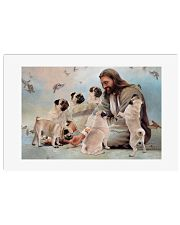 God surrounded by Pug angels Poster 24x16 Poster front
