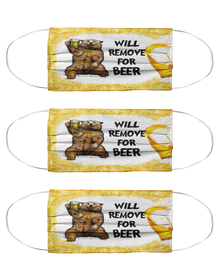 Bear will remove for beer face mask Cloth Face Mask - 3 Pack