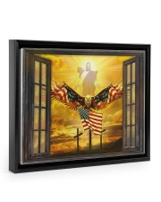 Jesus American eagle in the sky have faith poster Floating Framed Canvas Prints Black tile