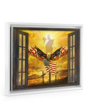 Jesus American eagle in the sky have faith poster Floating Framed Canvas Prints White tile
