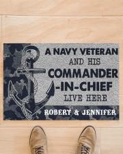 """A navy veteran and his commander in chief doormat Doormat 22.5"""" x 15""""  aos-doormat-22-5x15-lifestyle-front-02"""
