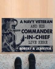 """A navy veteran and his commander in chief doormat Doormat 22.5"""" x 15""""  aos-doormat-22-5x15-lifestyle-front-10"""