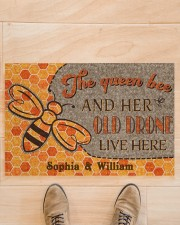 "The queen bee and her old drone live here doormat Doormat 22.5"" x 15""  aos-doormat-22-5x15-lifestyle-front-02"