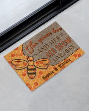 "The queen bee and her old drone live here doormat Doormat 22.5"" x 15""  aos-doormat-22-5x15-lifestyle-front-09"