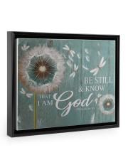 Dragonfly Be still and know that I am god poster Floating Framed Canvas Prints Black tile