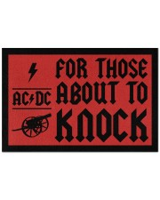"""For those about to knock doormat Doormat 22.5"""" x 15""""  front"""