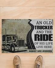 "An old trucker and the ride of his life doormat Doormat 22.5"" x 15""  aos-doormat-22-5x15-lifestyle-front-02"