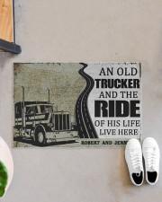 "An old trucker and the ride of his life doormat Doormat 22.5"" x 15""  aos-doormat-22-5x15-lifestyle-front-07"