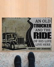 "An old trucker and the ride of his life doormat Doormat 22.5"" x 15""  aos-doormat-22-5x15-lifestyle-front-10"